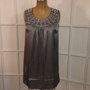 NWT Kenzie gray slate mix beaded silk dress Medium